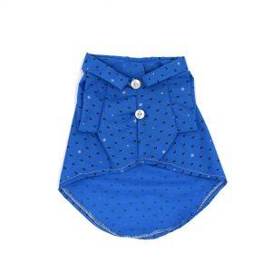Camisa-azul-con-circulos-y-detalles-florales-en-blanco