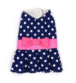Vestido azul con puntos blancos