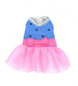 Vestido azul con tul rosa