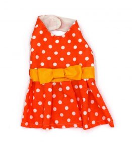 Vestido naranja con puntos blancos